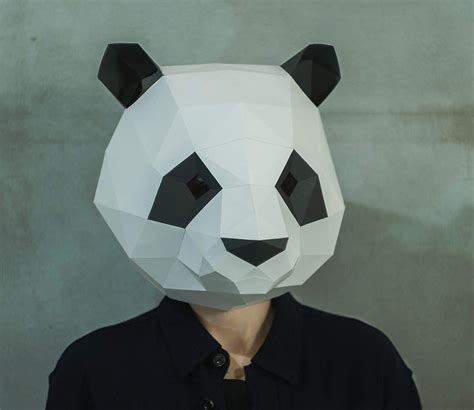 Masker Panda make panda mask diy 3d mask pdf pattern mask polygon paper