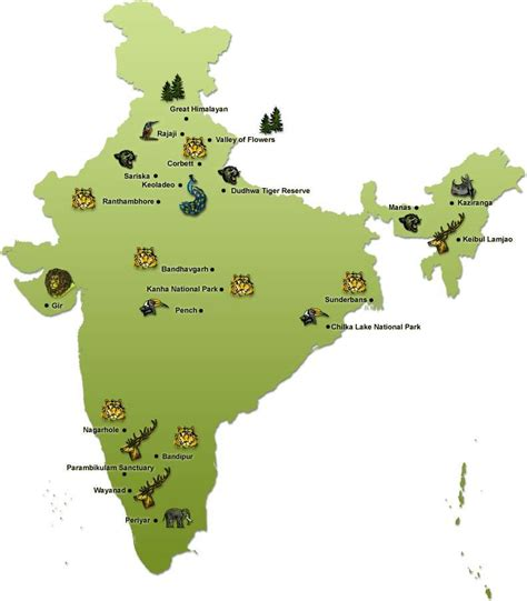 india s location of india s famous wildlife sanctuaries national parks