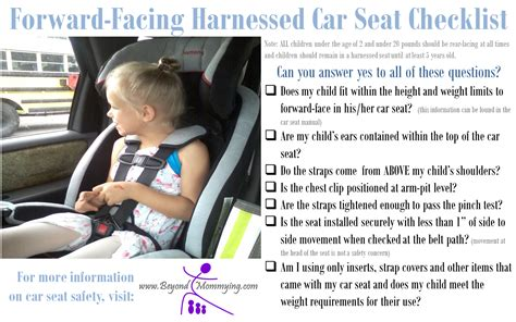 forward check car seat safety checklists for proper car seat use