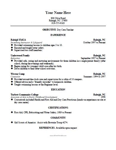 Resume Templates For Daycare Teachers Daycare Resume Template Free Printable