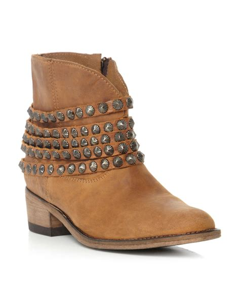 steve madden jaane stud ankle boots in brown lyst