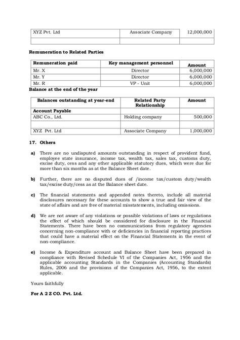 management representation letter format sle management representation letter