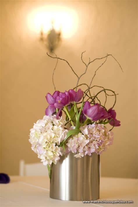 Silver Vase Centerpieces soft purple hydrangea and tulip centerpiece with curly willow in small silver vase the