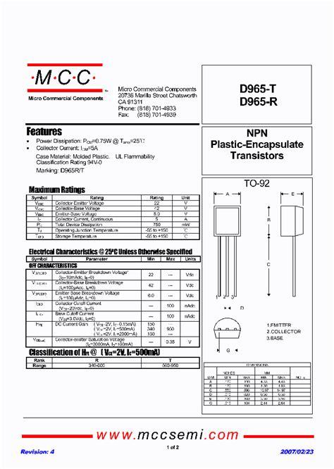 transistor npn d965 d965 t 1231317 pdf datasheet ic on line