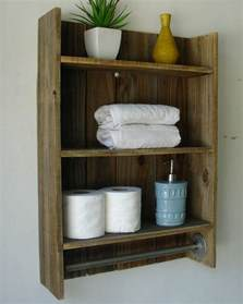 Wood Shelves Bathroom Rustic Reclaimed Wood 3 Tier Bathroom Shelf With Towel Bar