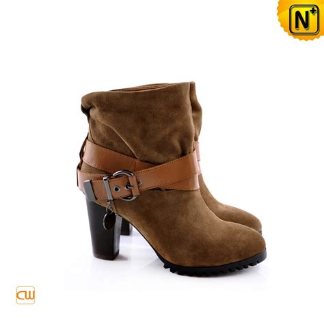 thick heel boots cowhide leather belt covered cwmalls