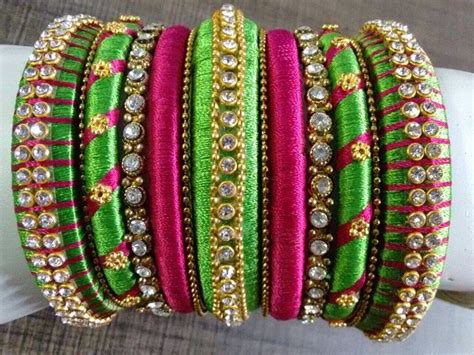 handmade silk thread bangles set fashion wear