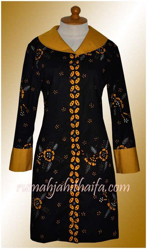 model baju gamis batik kombinasi polos busana muslim