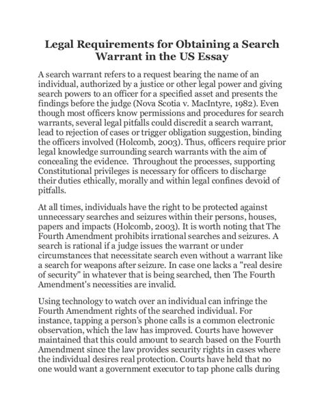 Search Warrant Requirements Requirements For Obtaining A Search Warrant In The Us Essay
