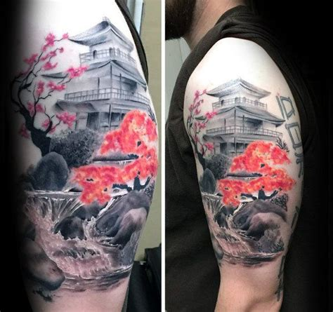 pinterest tattoo upper arm contrasting cherry blossom tree with temple mens japanese