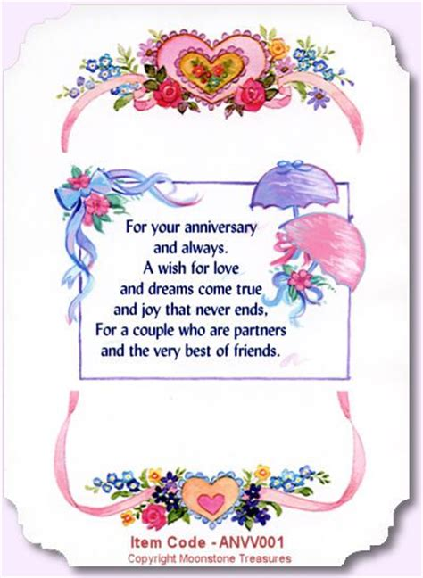 Wedding Anniversary Sentiments by Card Sentiments Wedding Anniversary Card Verses By