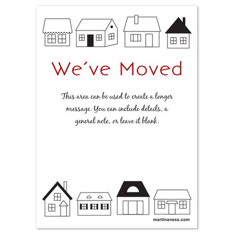 we have moved card with houses invitations cards on