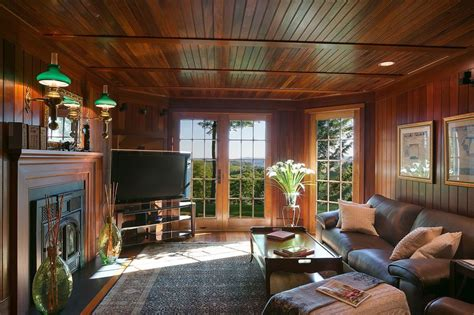 rustic family room rustic family room with hardwood floors metal fireplace