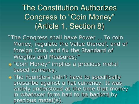 article i section 10 ppt how the federal reserve monetary system destroys