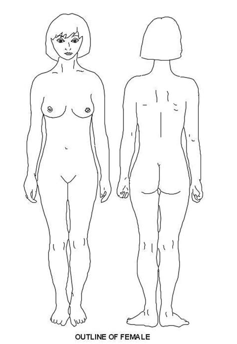 female front and rear view diagram patient