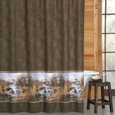 duck hunting bathroom decor duck approach shower curtain