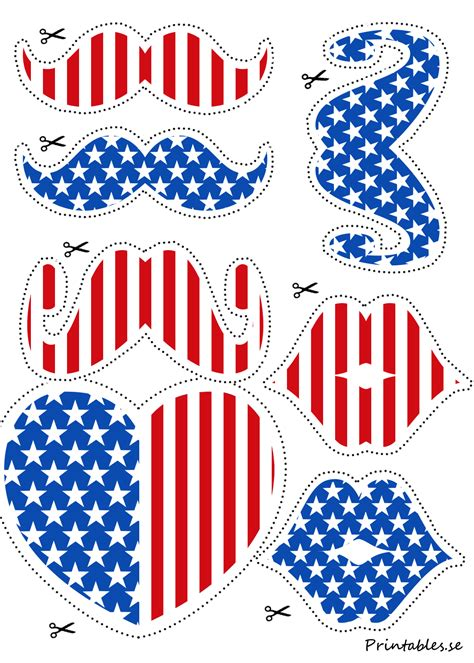 printable photo booth props 4th of july photo booth props mustaches and lips for 4th of july