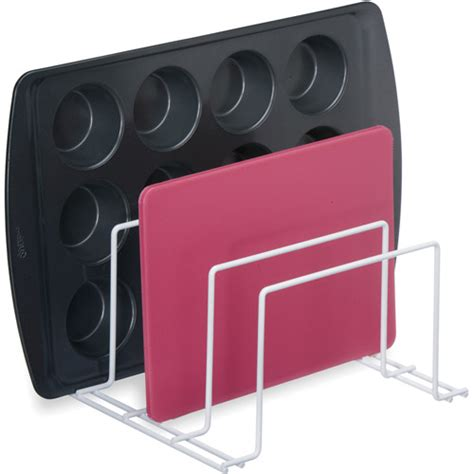 wire bakeware rack in cookware storage