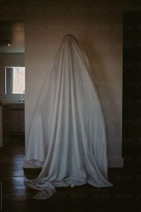 person   sheet  head   ghost costume