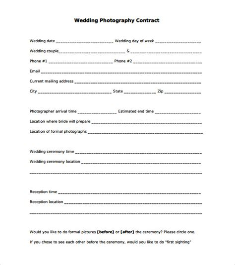 free photography contract templates sle wedding contract 21 documents in pdf word