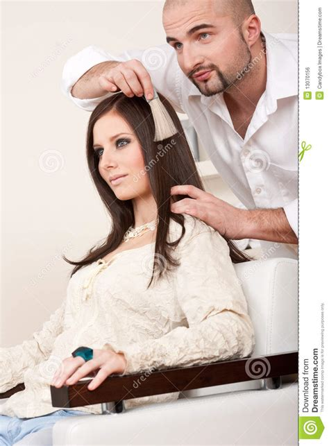 Professional Hair Dresser by Professional Hairdresser Choose Hair Dye Color Royalty