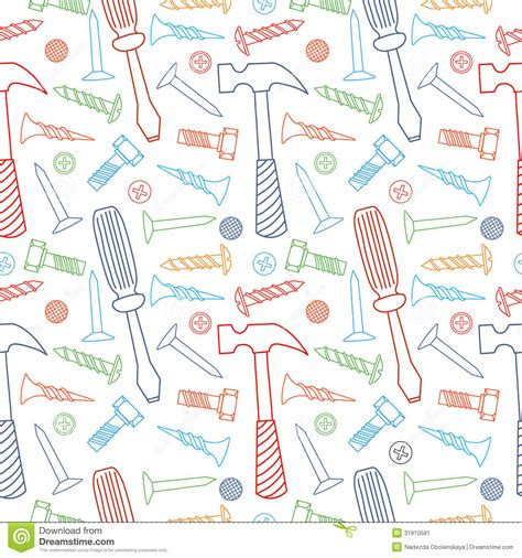 color pattern tool tools seamless line color pattern stock vector