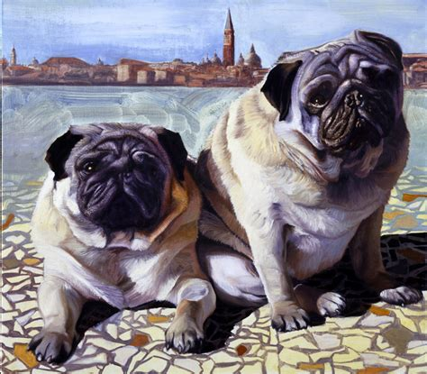 two pugs jon r friedman animal portraits 658 two venetian pugs
