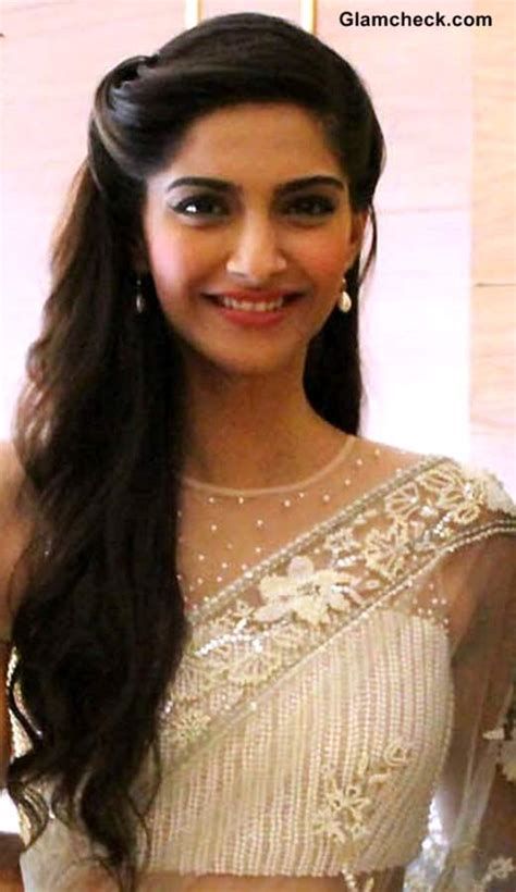 party hairstyles for open hair sonam kapoor stunning in white lace sari at raanjhanaa