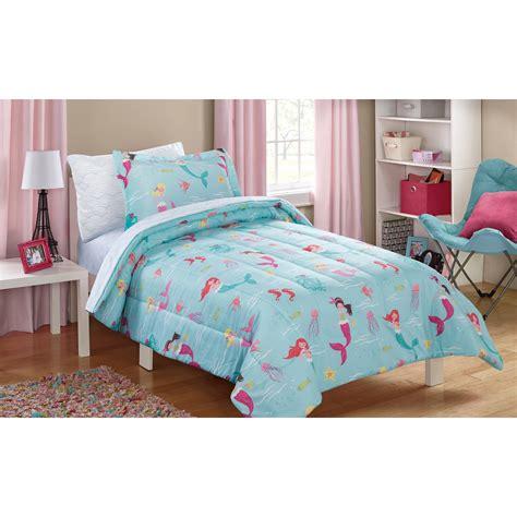 mermaid twin bedding mainstays kids mint mermaid 5 piece bed in a bag ebay