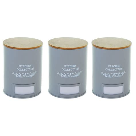 Set of 3 Vintage Shabby Chic Tea Coffee Sugar Kitchen Storage Jars Pot Container   eBay