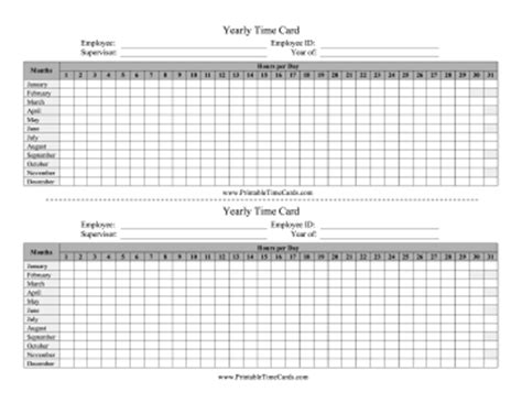yearly time card template yearly time card time card