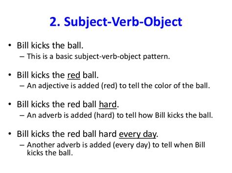 sentence pattern subject verb object basic sentence structures