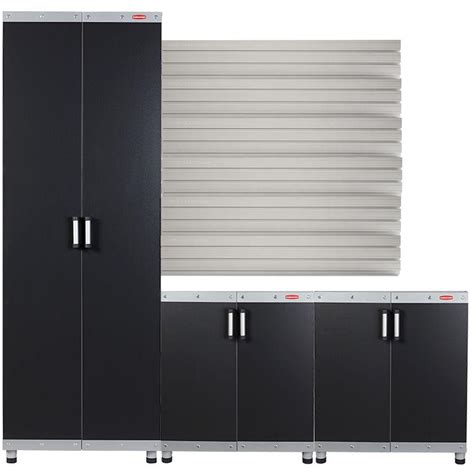 rubbermaid fasttrack garage laminate cabinet set with wall
