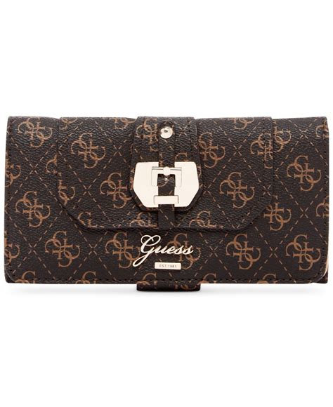 guess fashion 02 gold brown 19053 lyst guess confidential logo file clutch wallet in brown