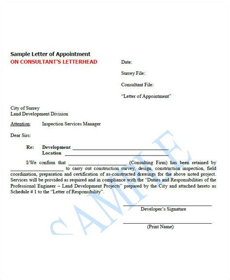 appointment letter format for tax consultant 51 sle appointment letters sle templates