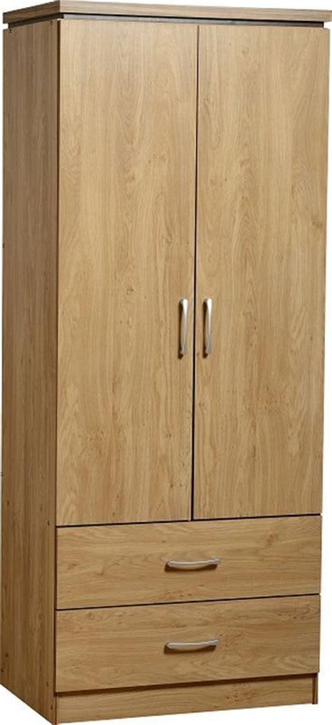 charles 2 door 2 drawer wardrobe oak veneer walnut trim