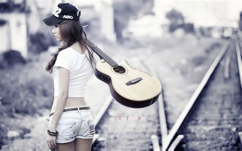 wallpaper girl with guitar stylish short jeans girl with guitar new hd wallpapernew