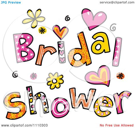 clipart colorful sketched bridal shower text 1 royalty