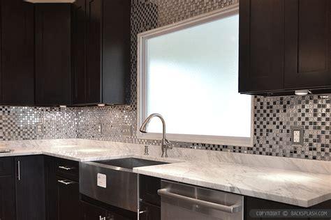 kitchen metal backsplash ideas espresso cabinet white countertop metal backsplash