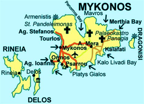 mykonos map map of mykonos greece
