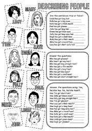 english teaching worksheets describing people english