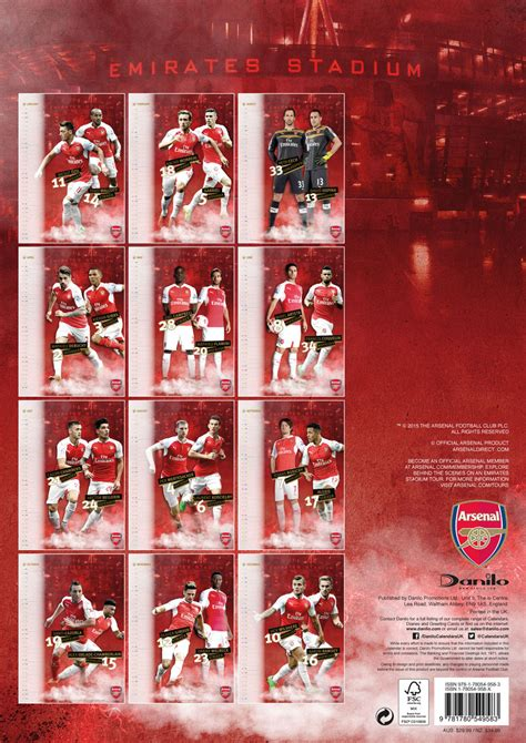 arsenal calendar arsenal fc calendars 2018 on europosters