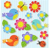 Bird And Butterfly Ladybug With Flower Sticker Vector