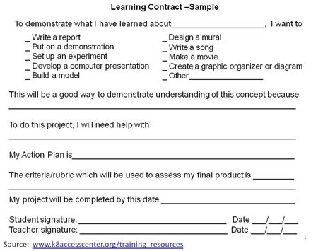 learning agreement template 2differentiate learning contract