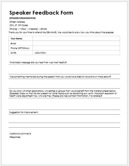 speaker feedback forms for ms word word excel templates