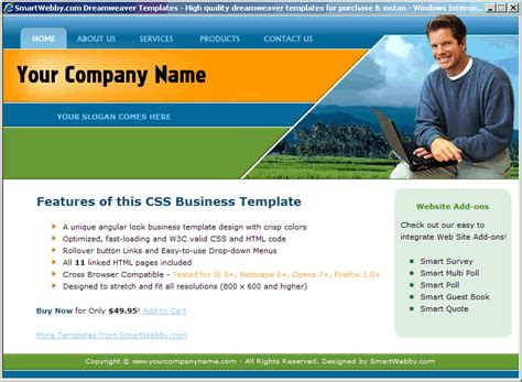 Dreamweaver Business Templates by Angular Business Template
