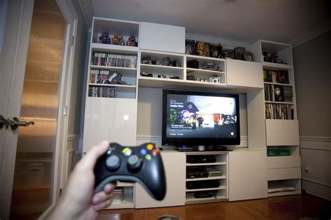 Ikea Game Room | video game room wall tv and console shelves ikea besta