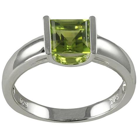 gems for you sterling silver princess cut peridot ring