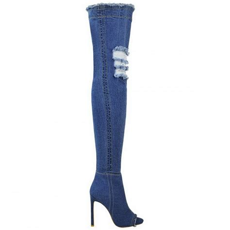 blue high heel boots mid blue denim thigh high peep toe stiletto high heel boots