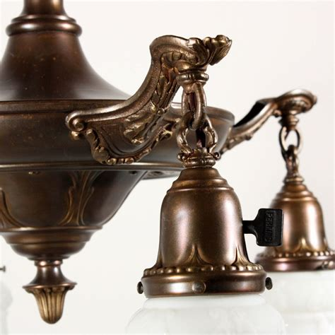 Antique L Shades For Sale by Wonderful Antique Four Light Brass Chandelier With